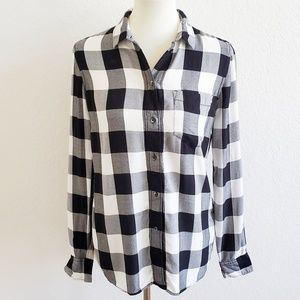 Madewell White Black Plaid Button Down Top Small
